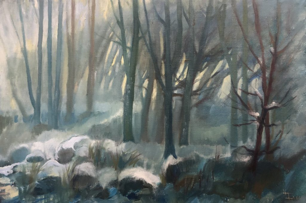 Swedish painting Woodland with Snow Hildegard Falk