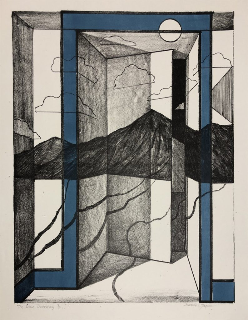 Norman Jaques lithograph Blue Doorway