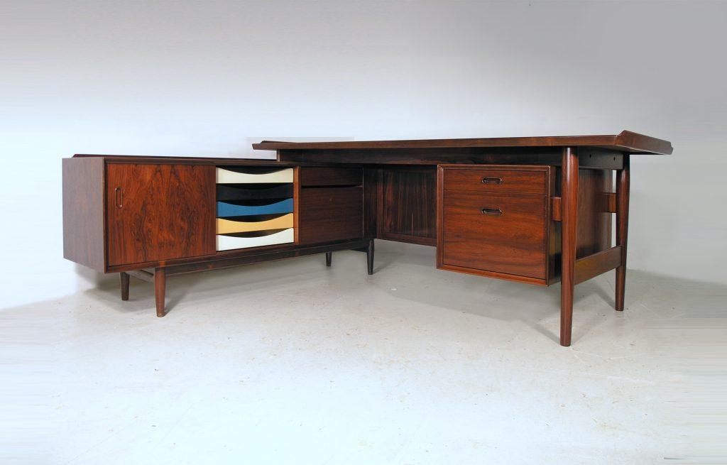 Rosewood desk by Arne Vodder - Sibast - coloured trays - Denmark mid century design