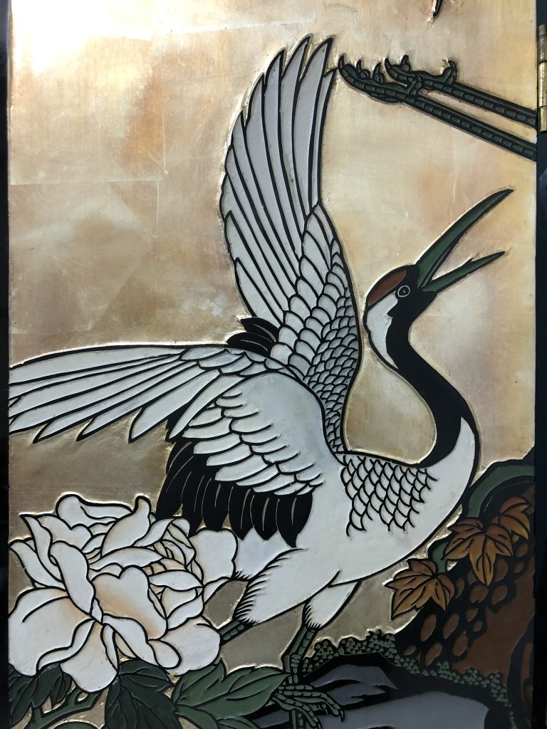 Chinese gold leaf lacquered coromandel screen with cranes and bamboo
